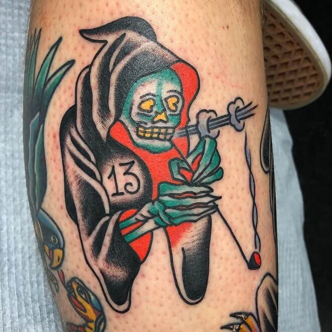 Ttraditional Grim Reaper Tattoo