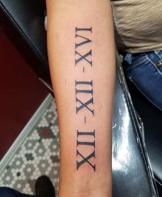 Walkin Roman Numeral Tattoo
