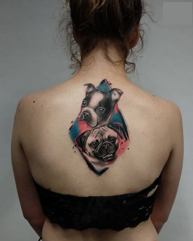 Water Color Dog Tattoo