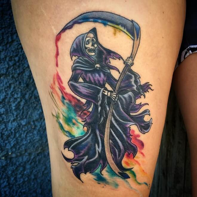 Water Color Grim Reaper Tattoo