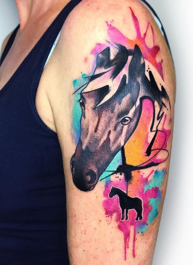 Water Color Horse Tattoo