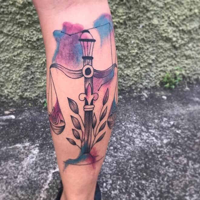 Water Color Libra Tattoo
