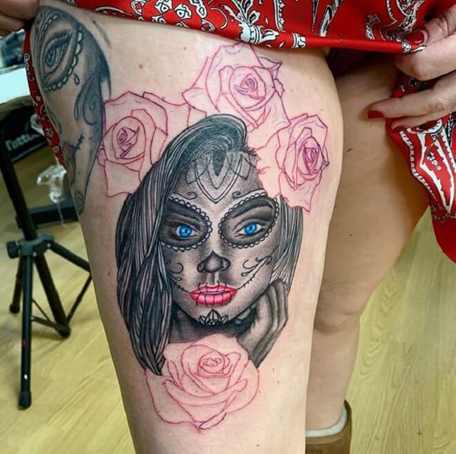 Amazing Day of the Dead Girl Tattoo