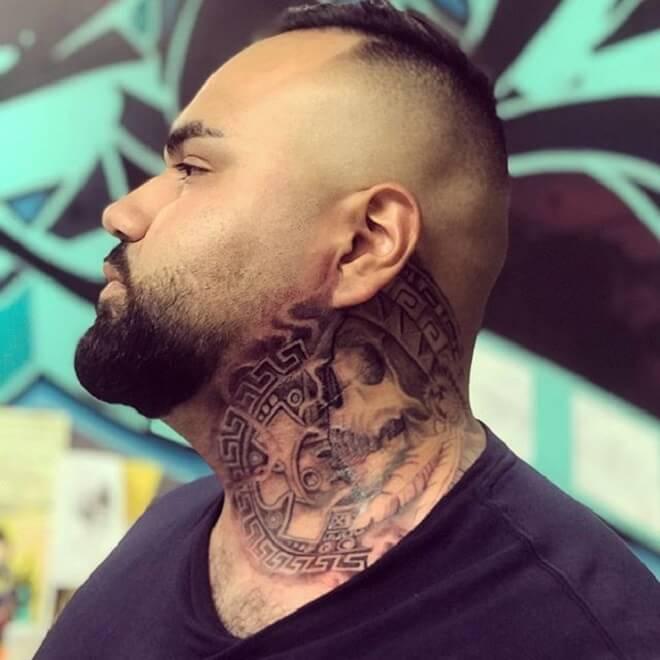 Aztec Neck Tattoo