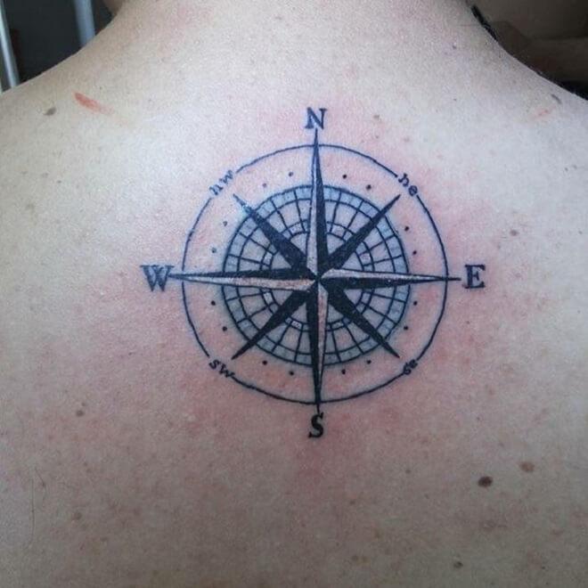 Back Compass Tattoo