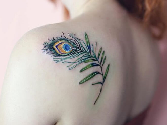 Back Peacock Feather Tattoo