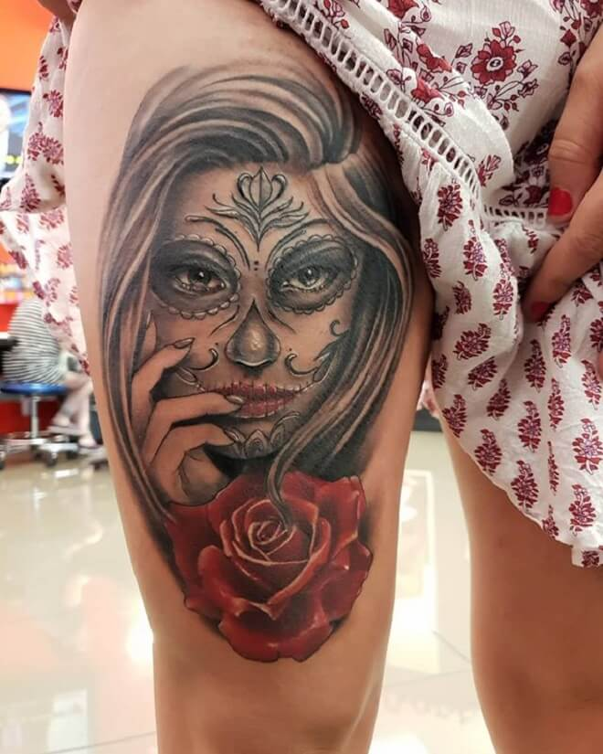 Beautiful Day of the Dead Girl Tattoo