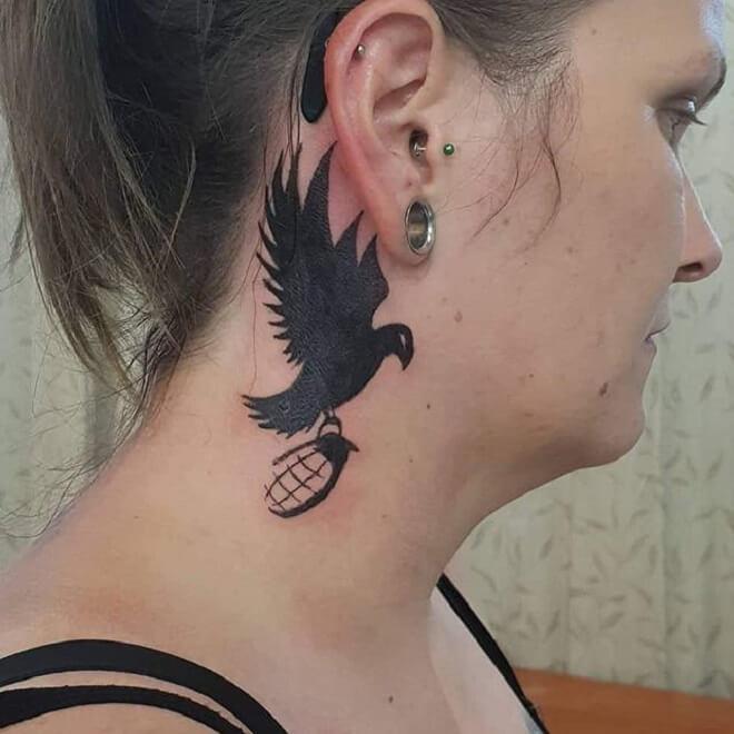 Bird Neck Tattoo