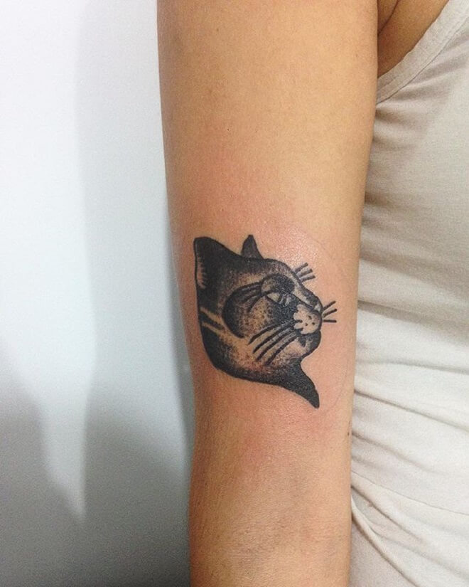 Black Work Cat Tattoos