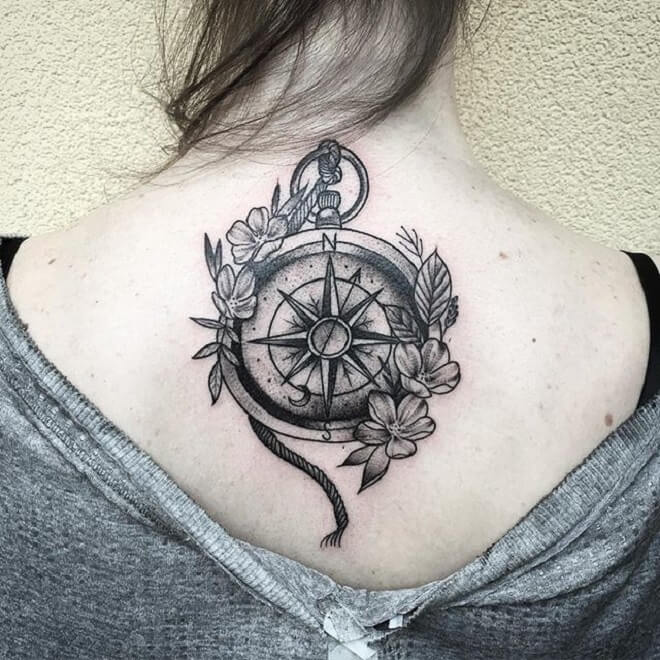Black Work Compass Tattoo