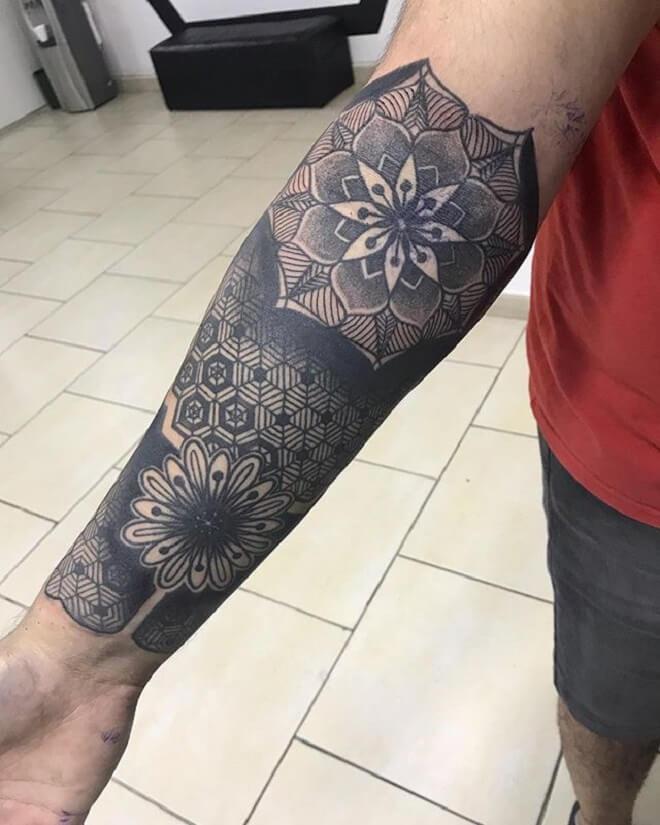Black Work Geometric Tattoo
