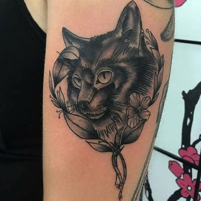 Black and Grey Cat Tattoo