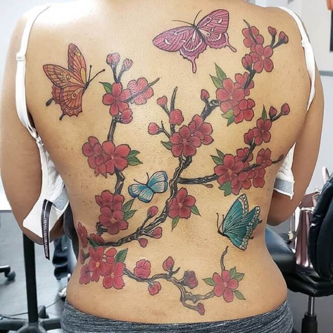 Butter Fly Cherry Blossom Tattoo