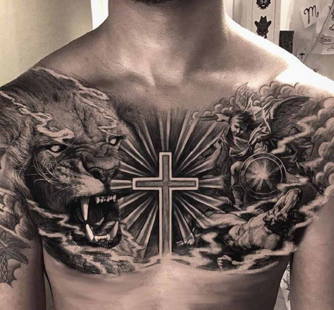 Chest Angel Tattoo