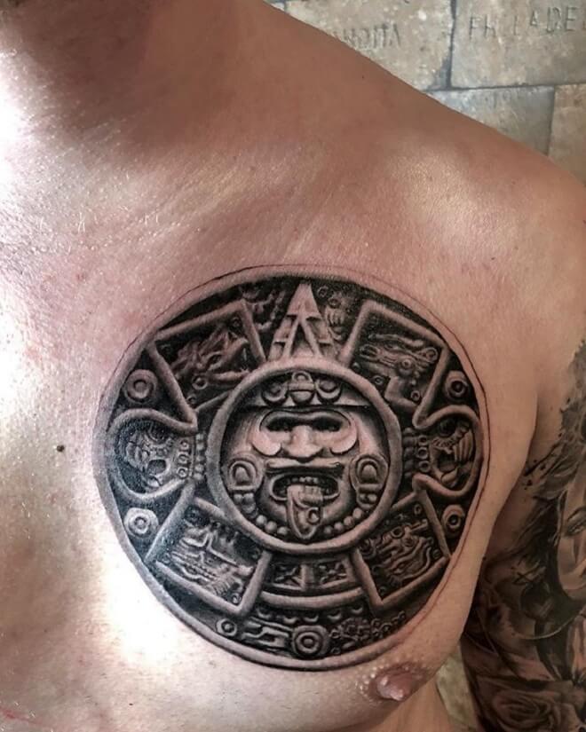 Chest Aztec Tattoo