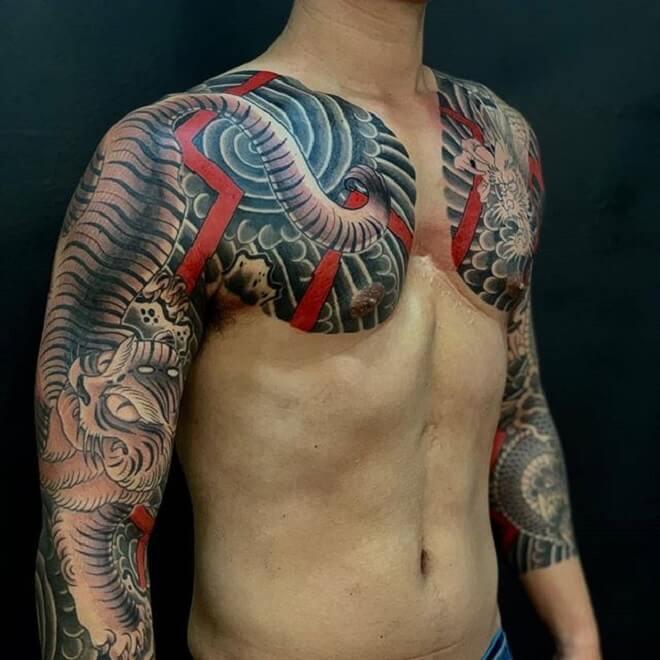 Chest Japanese Tattoo