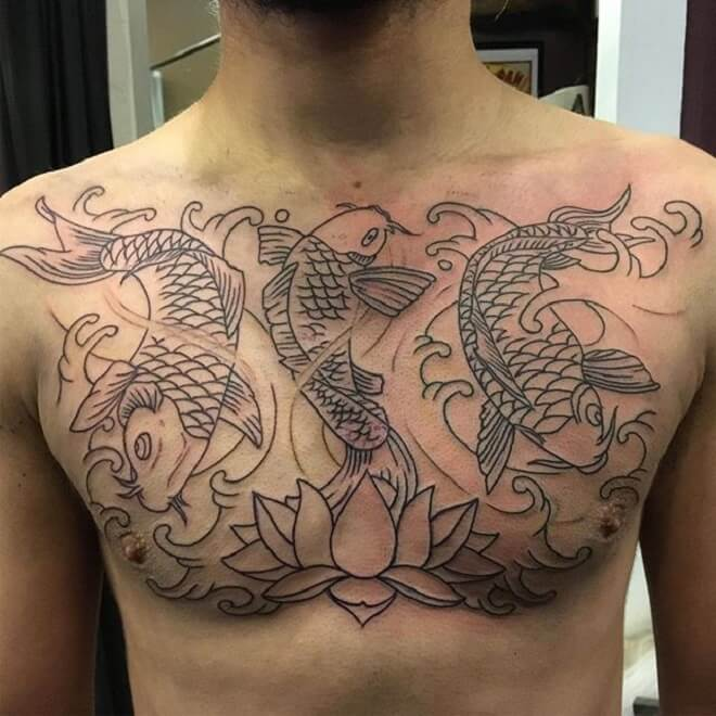 Chest Koi Fish Tattoo