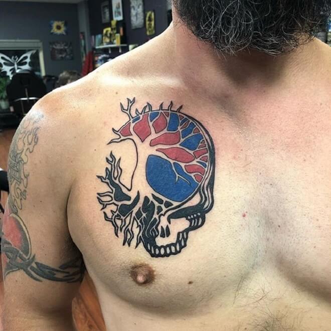 Chest Men Tree Tattoo