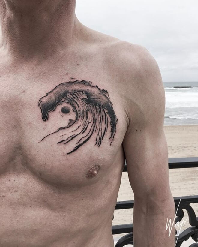 Chest Wave Tattoo