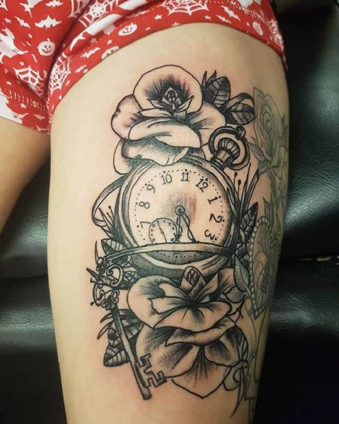 Clock Girl Tattoo