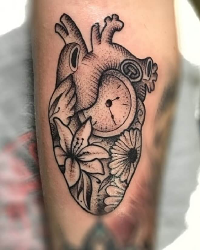 Clock Heart Tattoos