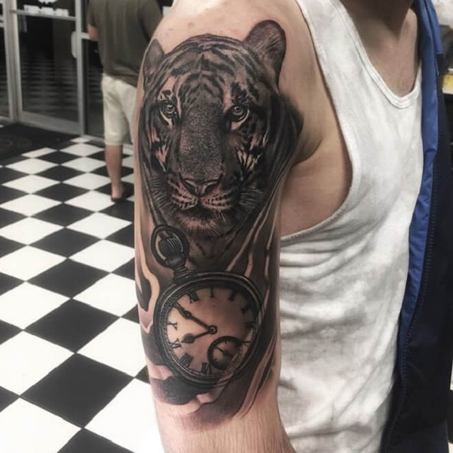 Clock Tiger Tattoo