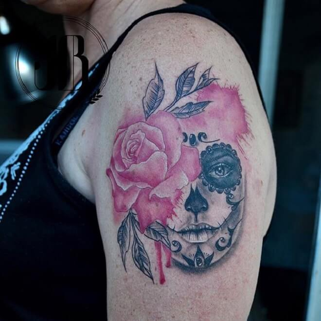 Color Day of the Dead Girl Tattoo