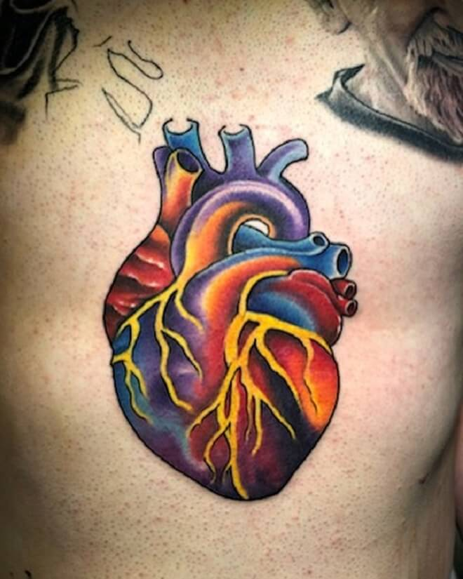 Color Heart Tattoo