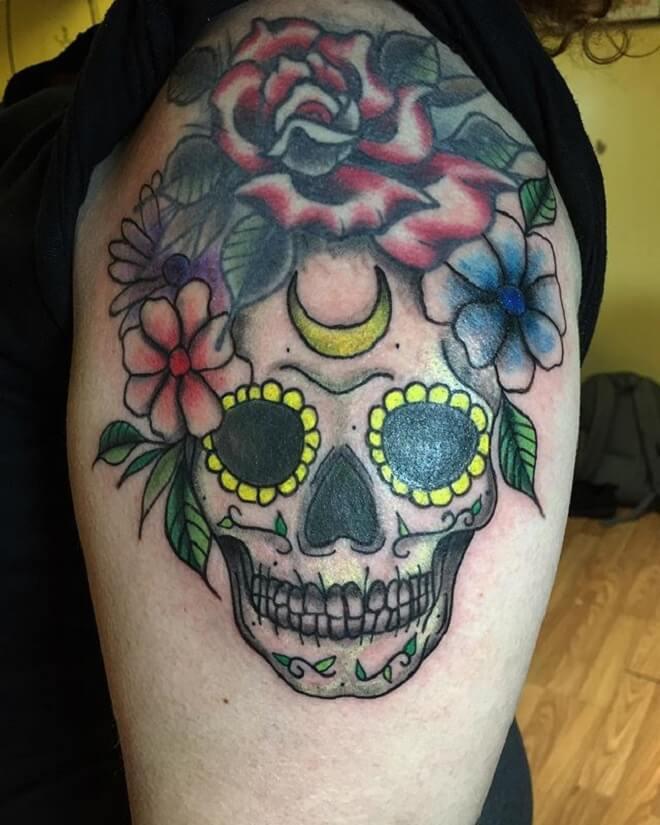 Color Sugar Skull Tattoo