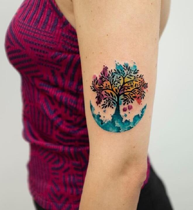 Color Tree Tattoo