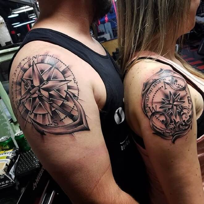 Couple Compass Tattoo