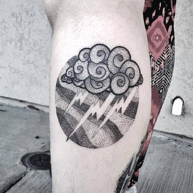 Dot Work Cloud Tattoo
