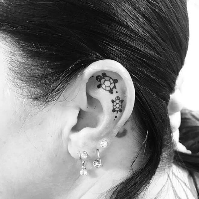 Ear Turtle Tattoo