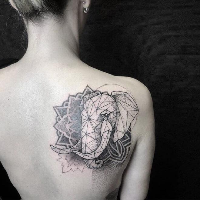 Elephant Geometric Tattoo