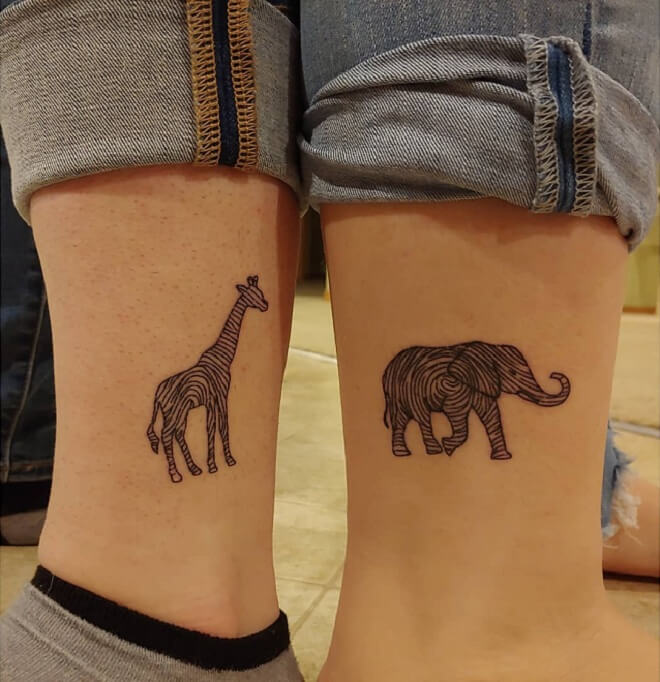 Elephant and Giraffe Fingerprint Tattoo