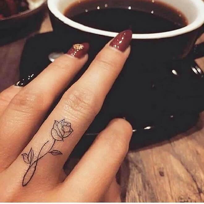 Finger Flower Tattoo Designs