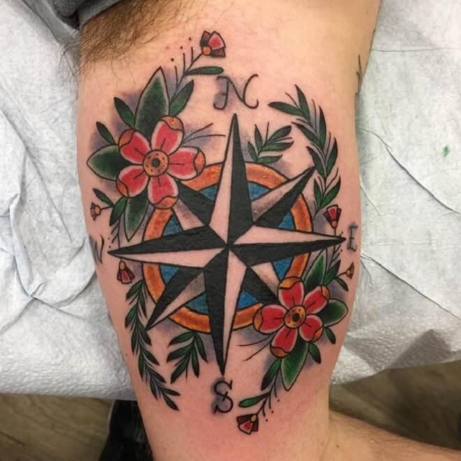 Flower Compass Tattoo