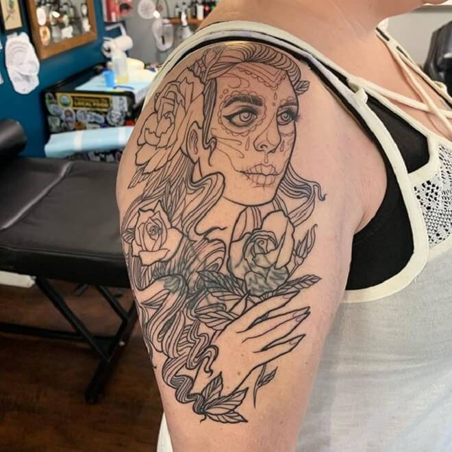 Flower Day of the Dead Girl Tattoo