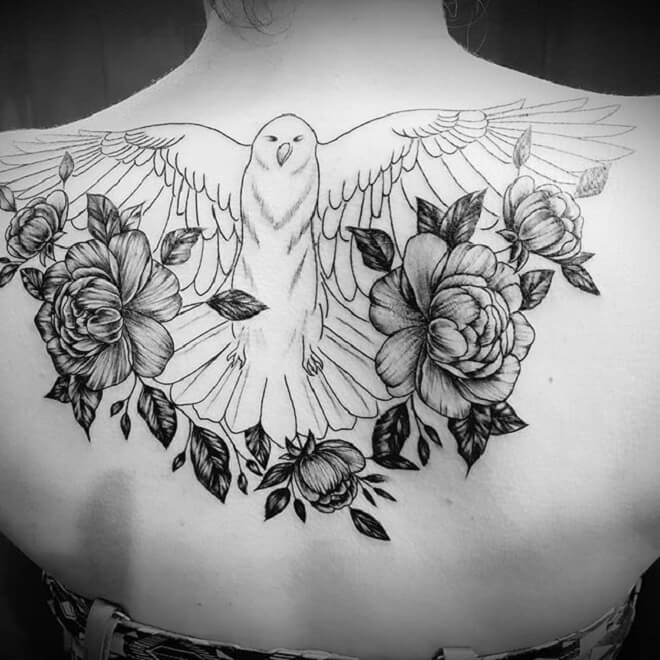 Flower Dove Tattoo