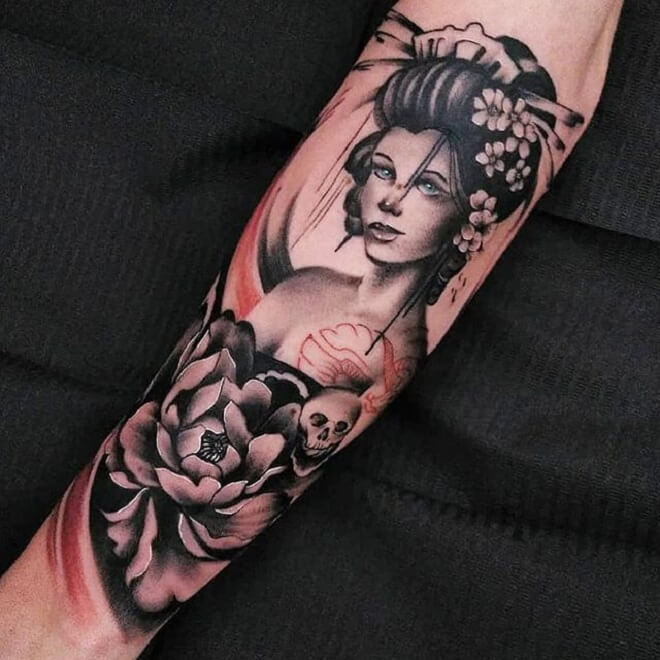 Flower Geisha Tattoo