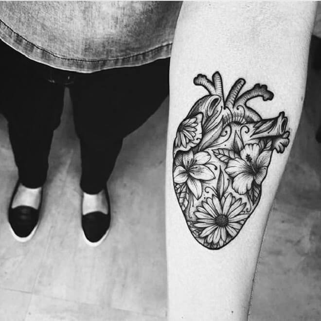 Flower Heart Tattoo