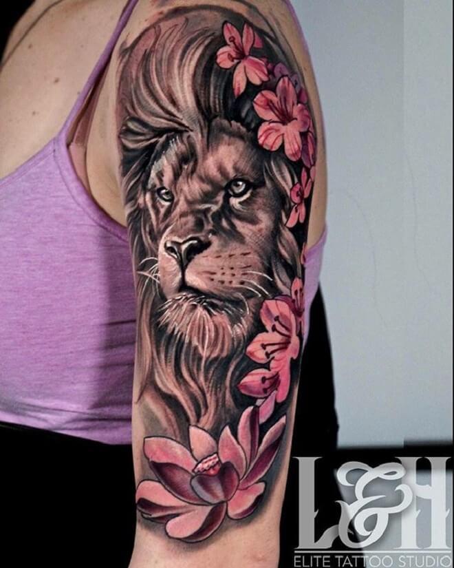 Flower Lion Tattoos