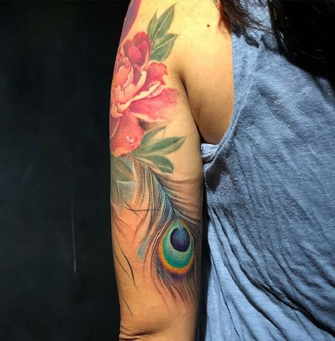 Flower Peacock Feather Tattoo