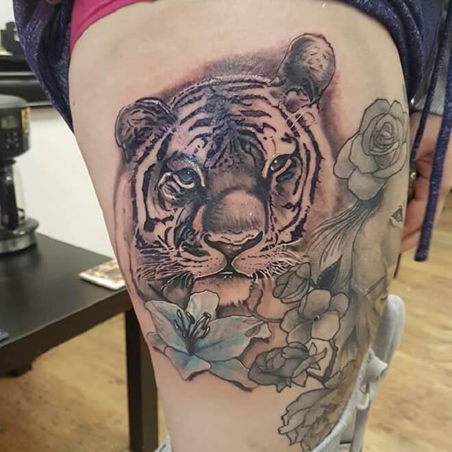 Flower Tiger Tattoo
