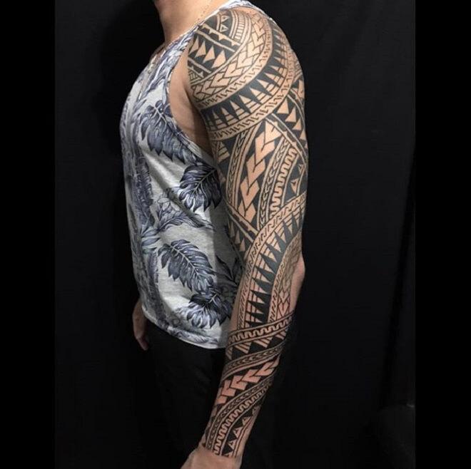 Full Hand Maori Tattoo Style