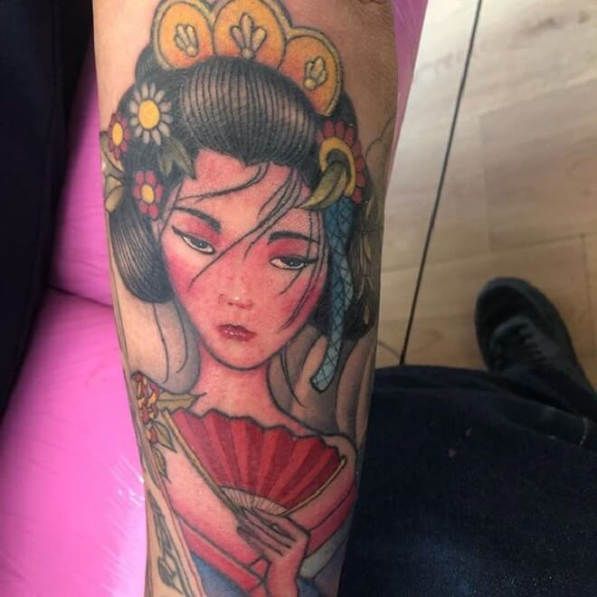 Geisha Colorful Tattoo