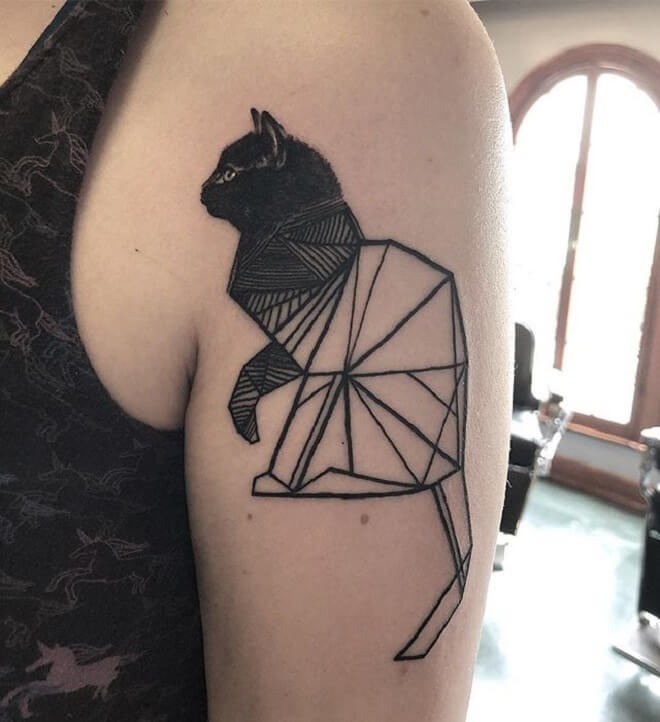 Geometric Black Cat Tattoo