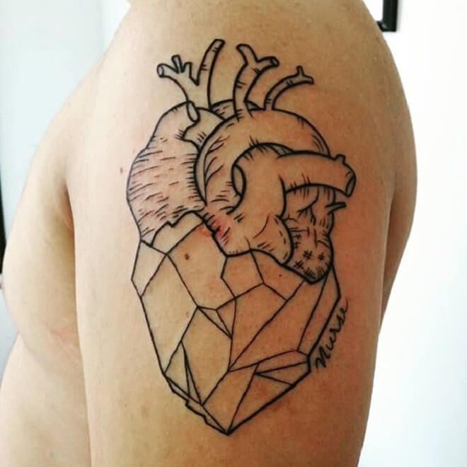 Geometric Heart Tattoos
