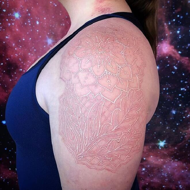 Girl Body White ink Tattoo