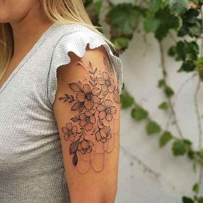 Girl Flower Tattoo